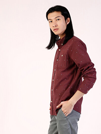 COLINS красный мужской рубашки длинний рукав<br>Пол: мужской; Цвет: темно-красный; Размер INT: XXL;