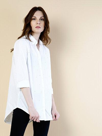 COLINS белый женский рубашки длинний рукав<br>Пол: женский; Цвет: белый; Размер INT: M;