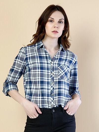 COLINS синий женский рубашки длинний рукав<br>Пол: женский; Цвет: синий; Размер INT: L;
