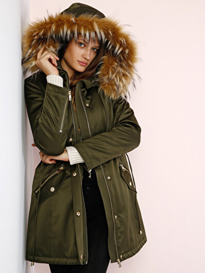 COLINS хаки женский пальто<br>Пол: женский; Цвет: хаки; Размер INT: XS;