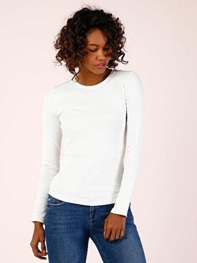 COLINS белый женский футболки длинный рукав<br>Пол: женский; Цвет: белый; Размер INT: S;