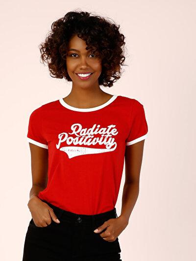 COLINS красный женский футболки короткий рукав<br>Пол: женский; Цвет: красный; Размер INT: XS;