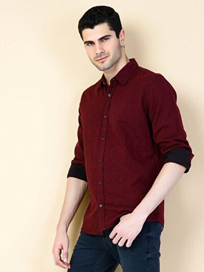 COLINS пурпурный мужской рубашки длинний рукав<br>Пол: мужской; Цвет: сливовый; Размер INT: M;