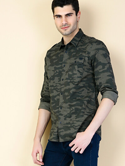 COLINS хаки мужской рубашки длинний рукав<br>Пол: мужской; Цвет: хаки; Размер INT: XL;