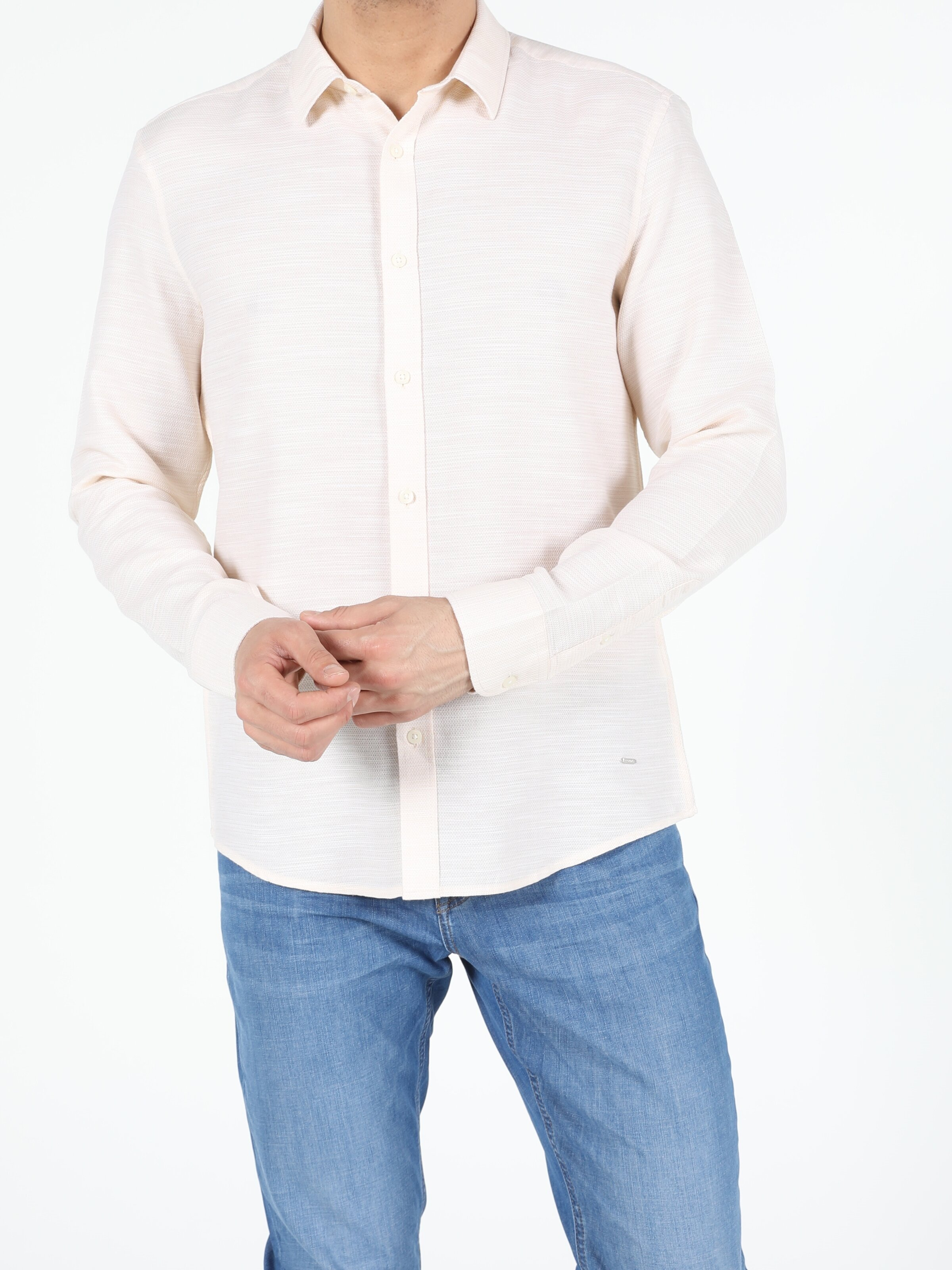 Показать информацию о Мужская рубашка с длинним рукавом slim fit CL1054243