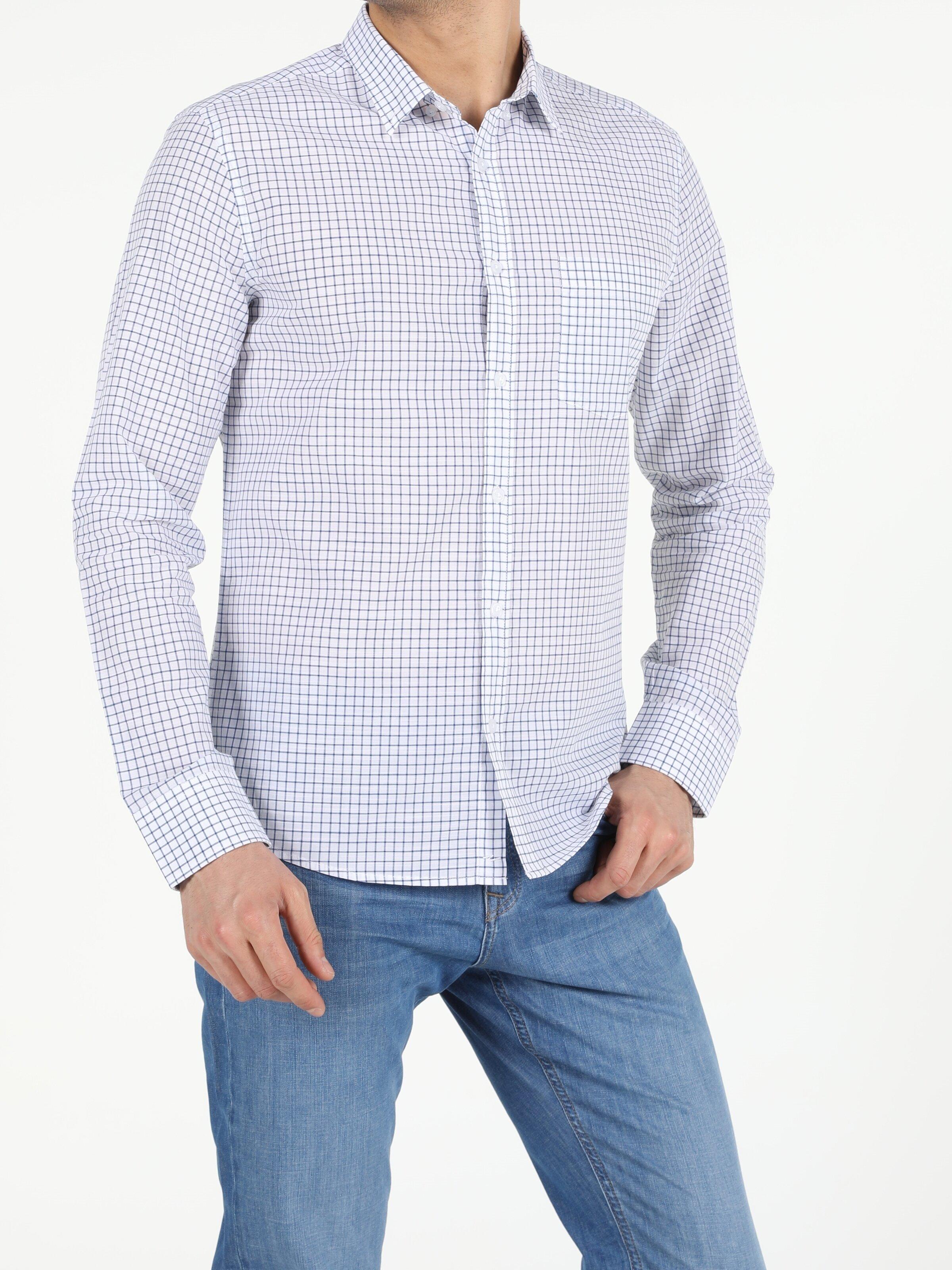 Показать информацию о Мужская рубашка с длинним рукавом slim fit CL1053803
