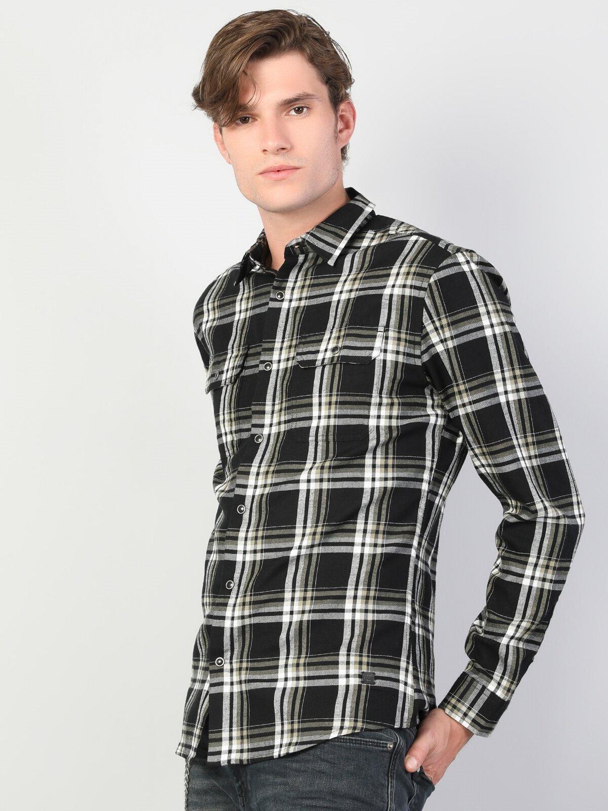 Показать информацию о Мужская рубашка с длинним рукавом slim fit CL1044204