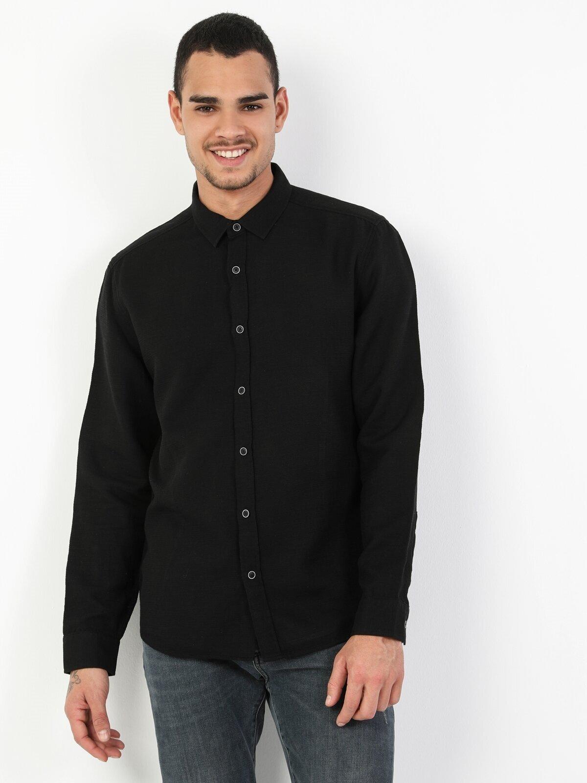 Показать информацию о Мужская рубашка с длинним рукавом slim fit CL1048527