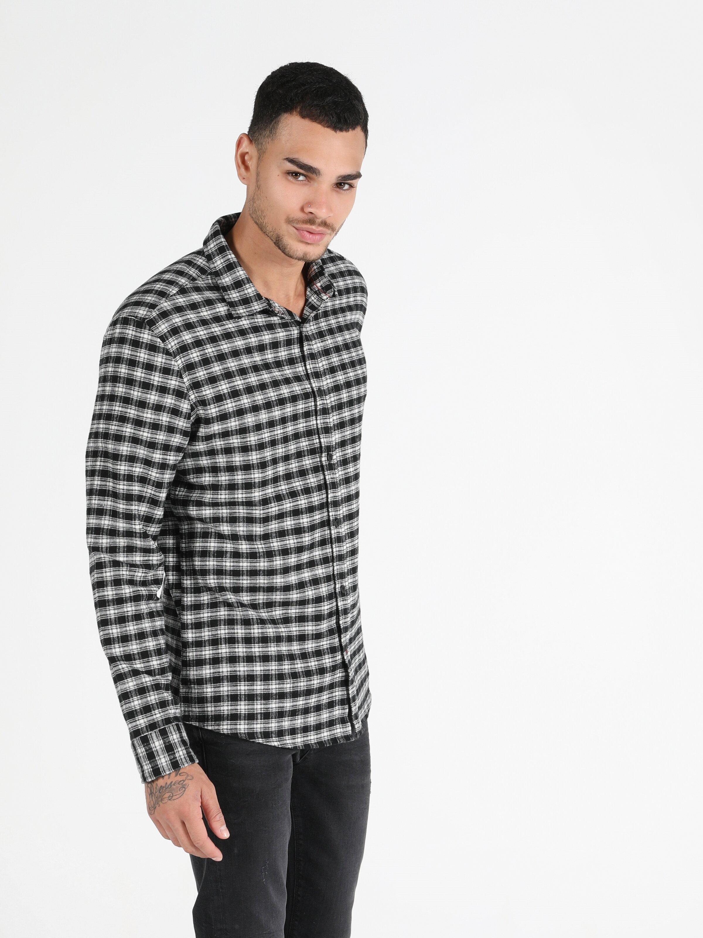 Показать информацию о Мужская рубашка с длинним рукавом slim fit CL1050129