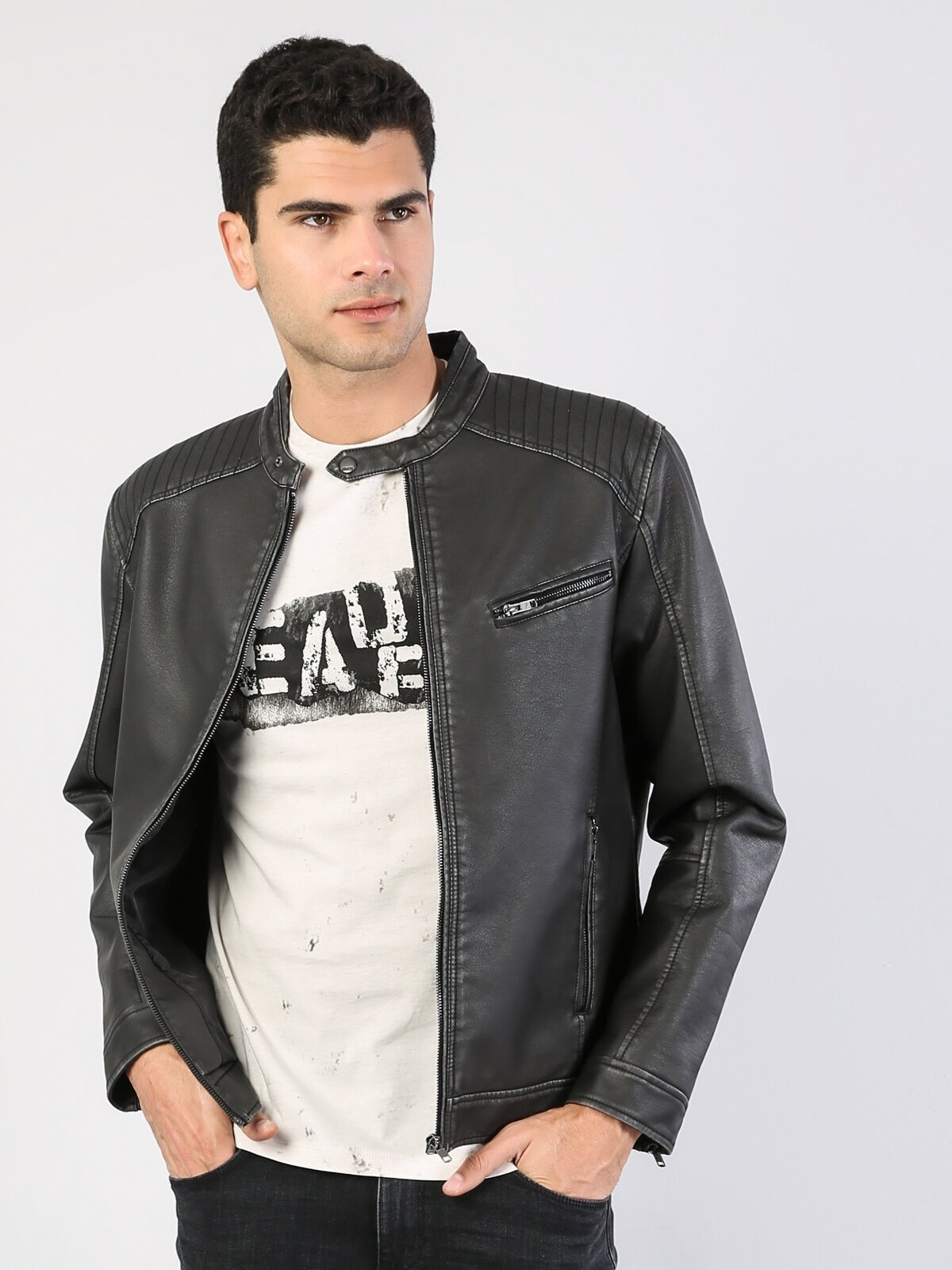 Показать информацию о Мужская куртка из эко-кожи regular fit CL1036130