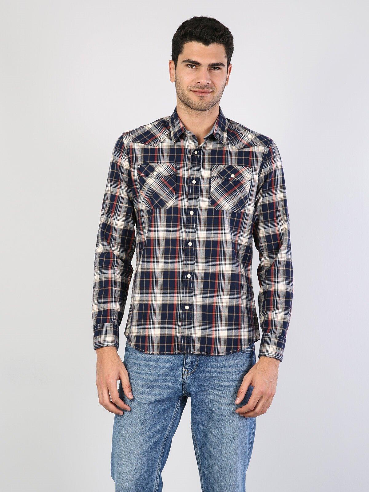 Показать информацию о Мужская рубашка с длинним рукавом modern fit CL1022701