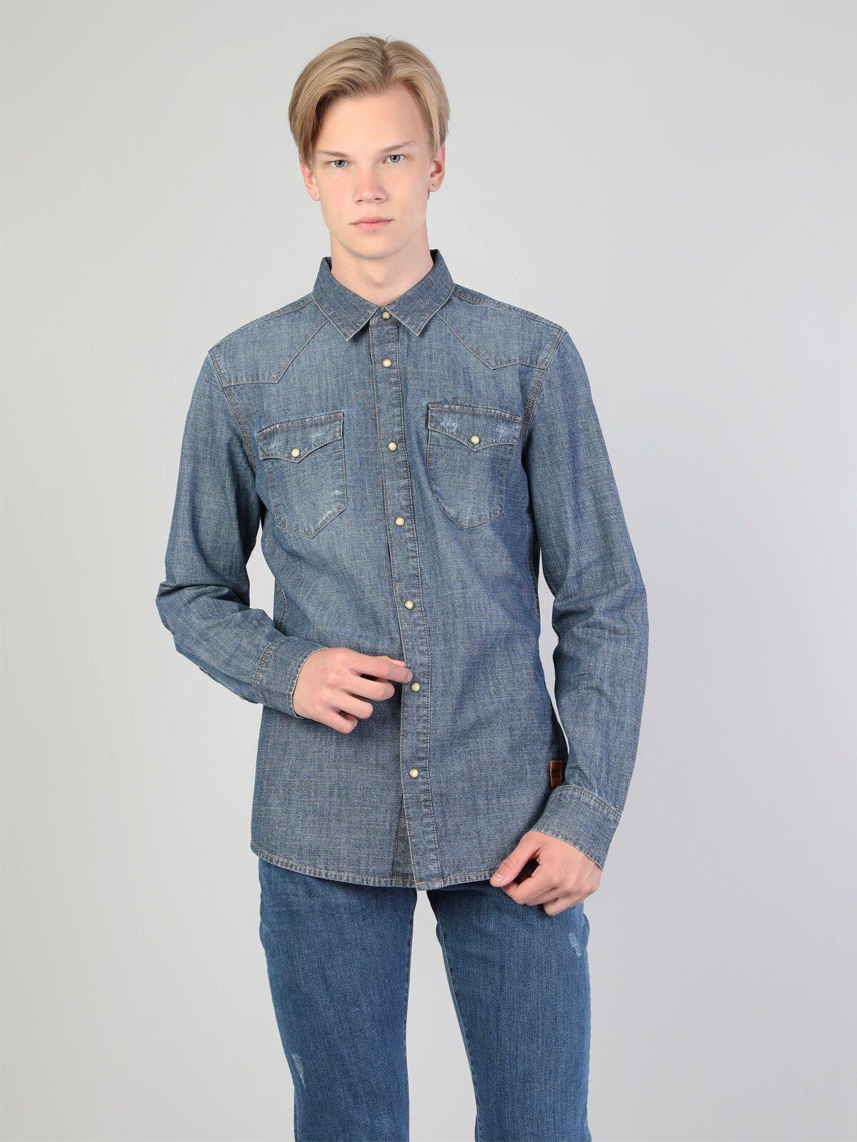 Показать информацию о Мужская рубашка с длинним рукавом slim fit CL1045441