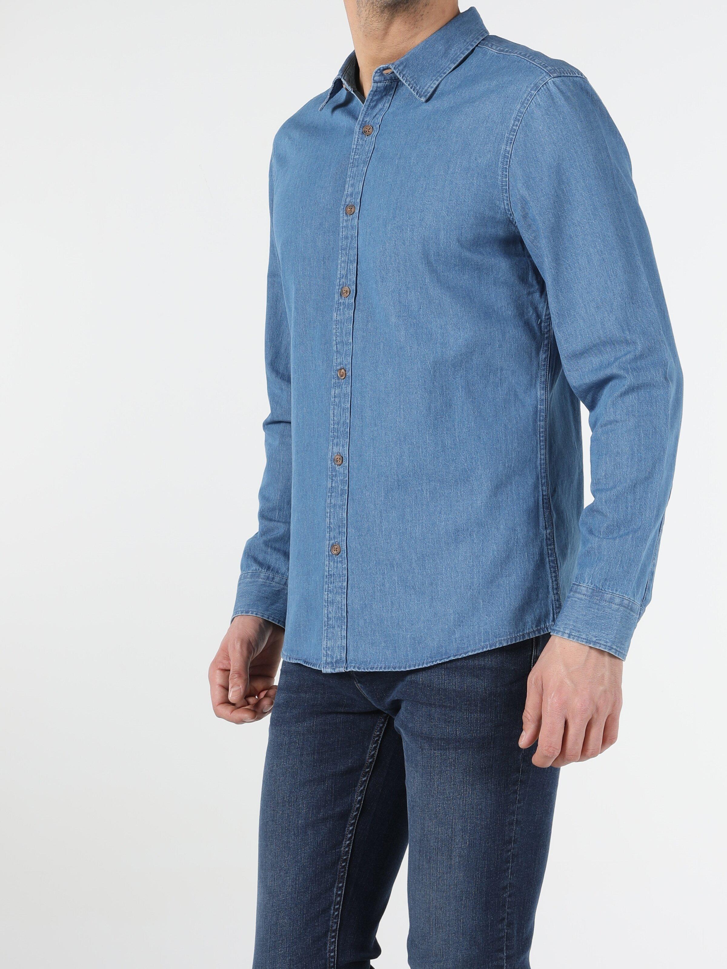 Показать информацию о Мужская рубашка с длинним рукавом slim fit CL1054776