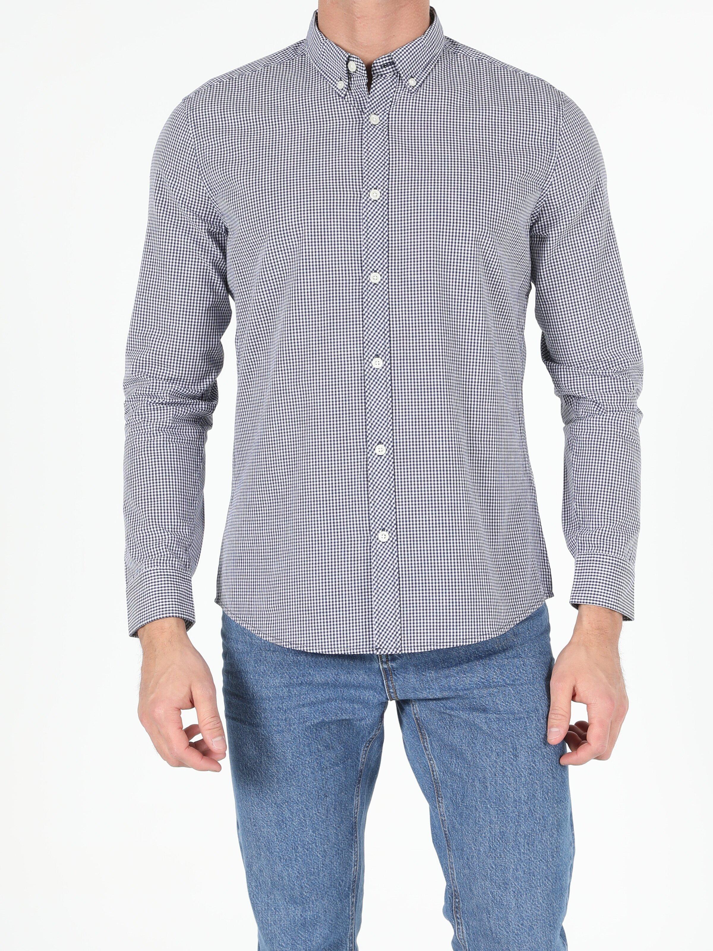 Показать информацию о Мужская рубашка с длинним рукавом slim fit CL1048578