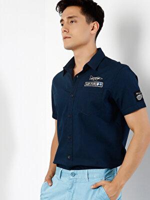 Изображение COLIN'S Синий муж. Рубашки Короткий рукав