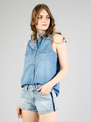Изображение COLIN'S Голубой жен. Рубашки Короткий рукав