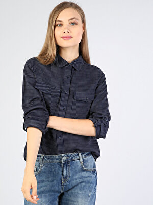 Изображение Синий жен. Рубашки Длинний рукав