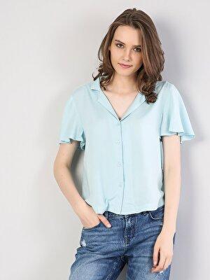 Изображение Зеленый жен. Рубашки Короткий рукав