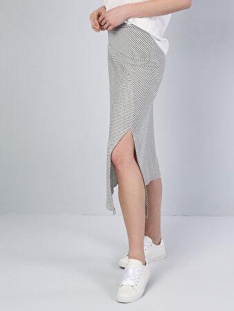 Изображение Белая Полосатая Макси-Юбка С Разрезом