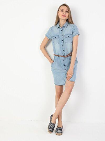 Изображение  Джинсовое Платье-Рубашка С Короткими Рукавами