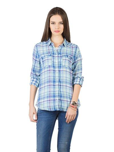 COLIN'S голубой женский рубашки длинний рукав