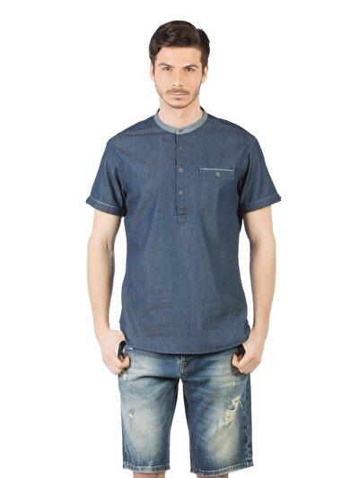 Купить со скидкой COLIN'S голубой мужской рубашки короткий рукав