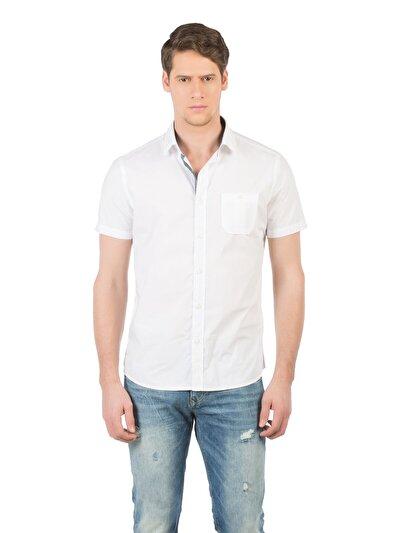 COLINS белый мужской рубашки короткий рукав<br>Пол: мужской; Цвет: белый; Размер INT: L;