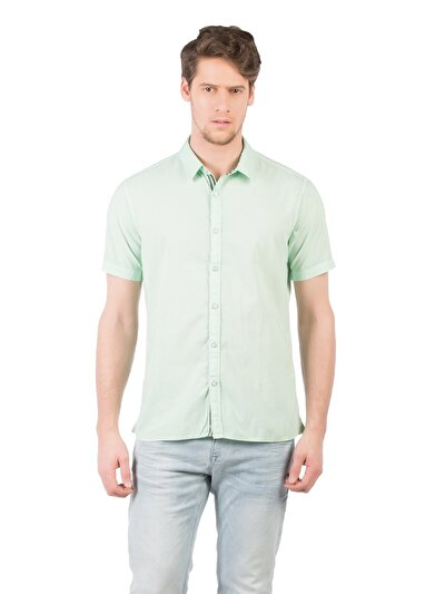 COLINS зеленый мужской рубашки короткий рукав<br>Пол: мужской; Цвет: зеленая мята; Размер INT: XL;