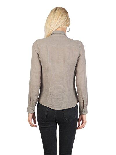 COLINS белый женский рубашки длинний рукав<br>Пол: женский; Цвет: каменный; Размер INT: L;