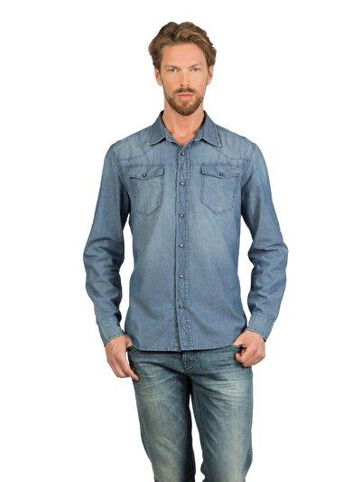 COLINS деним мужской рубашки длинний рукав<br>Пол: мужской; Цвет: паркин уош; Размер INT: M;