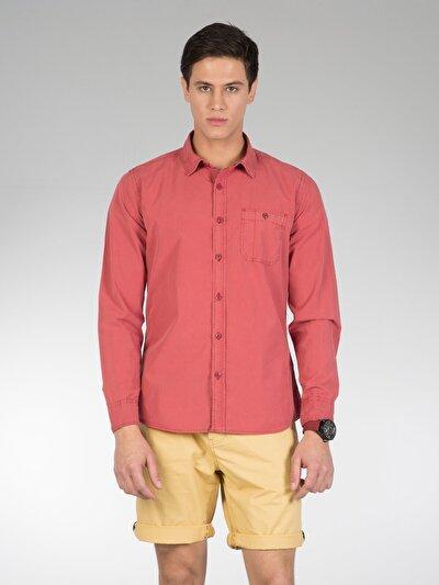 COLINS красный мужской рубашки длинний рукав<br>Пол: мужской; Цвет: кирпичный; Размер INT: S;