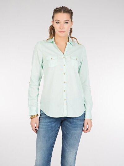COLINS зеленый женский рубашки длинний рукав<br>Пол: женский; Цвет: зеленая мята; Размер INT: L;