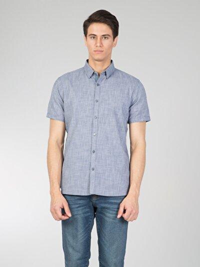COLINS синий мужской рубашки короткий рукав<br>Пол: мужской; Цвет: синий; Размер INT: XL;