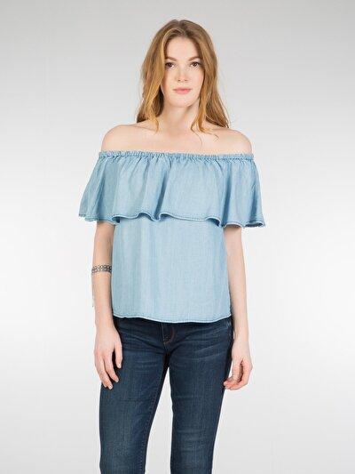 COLINS деним женский рубашки короткий рукав<br>Пол: женский; Цвет: примроуз уош; Размер INT: S;