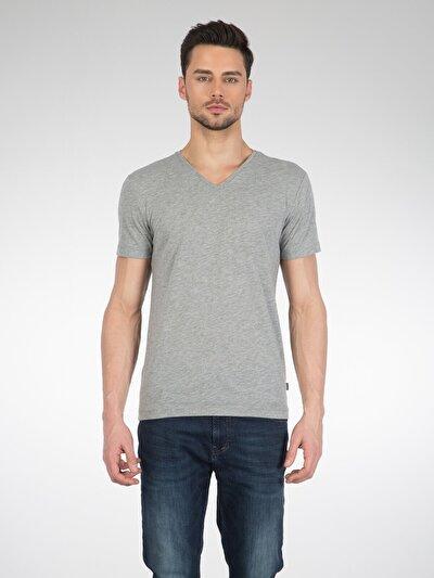 COLINS серый мужской футболки короткий рукав<br>Пол: мужской; Цвет: смешанный серый; Размер INT: XL;