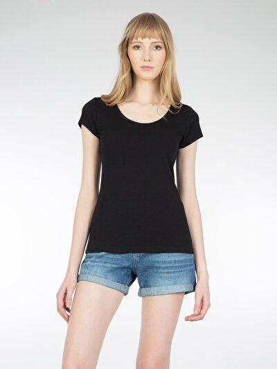 COLINS черный женский футболки короткий рукав<br>Пол: женский; Цвет: черный; Размер INT: M;