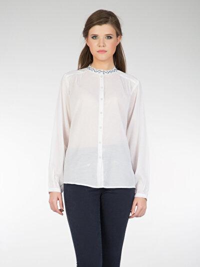 COLINS белый женский рубашки длинний рукав<br>Пол: женский; Цвет: белый; Размер INT: XS;