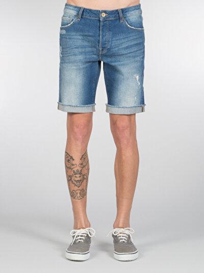 COLINS деним мужской шорты<br>Пол: мужской; Цвет: мид херон уош; Размер INT: S;