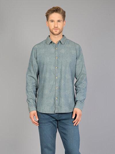 COLIN'S голубой мужской рубашки длинний рукав
