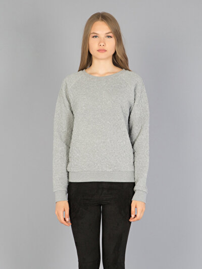 COLINS серый женский толстовки<br>Пол: женский; Цвет: тёмно-серый меланж; Размер INT: S;