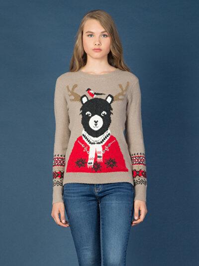 COLINS бежевый женский свитеры<br>Пол: женский; Цвет: экру меланж; Размер INT: XS;