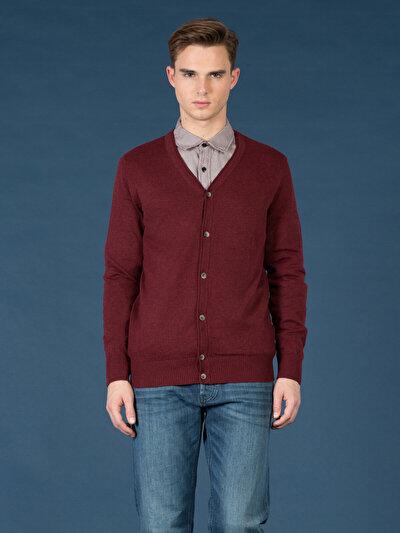COLINS бордовый мужской кардиганы<br>Пол: мужской; Цвет: бордовый меланж; Размер INT: S;