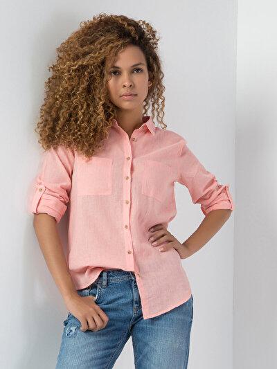 COLINS кораловый женский рубашки длинний рукав<br>Пол: женский; Цвет: кораловый; Размер INT: L;