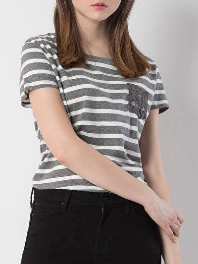 COLINS антрацит женский футболки короткий рукав<br>Пол: женский; Цвет: смешанный антрацит; Размер INT: L;