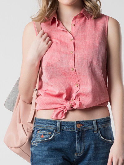 COLINS кораловый женский рубашки короткий рукав<br>Пол: женский; Цвет: кораловый; Размер INT: M;