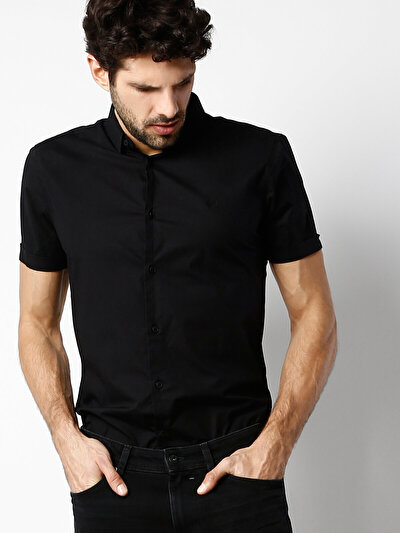 COLINS черный мужской рубашки короткий рукав<br>Пол: мужской; Цвет: черный; Размер INT: XL;