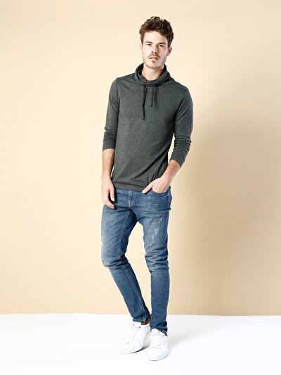 COLINS  мужской футболки длинный рукав<br>Пол: мужской; Цвет: хаки меланж; Размер INT: M;