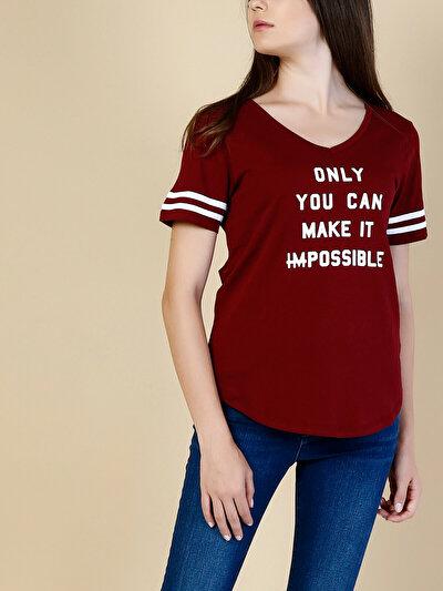 COLINS бордовый женский футболки короткий рукав<br>Пол: женский; Цвет: бордовый; Размер INT: L;