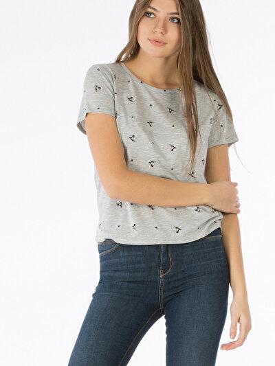 COLINS серый женский футболки короткий рукав<br>Пол: женский; Цвет: смешанный серый; Размер INT: S;