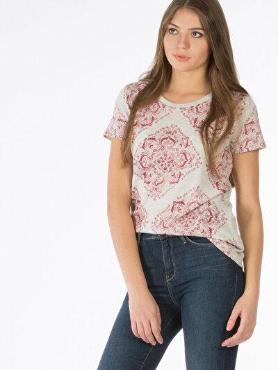 COLINS бежевый женский футболки короткий рукав<br>Пол: женский; Цвет: экру меланж; Размер INT: XS;
